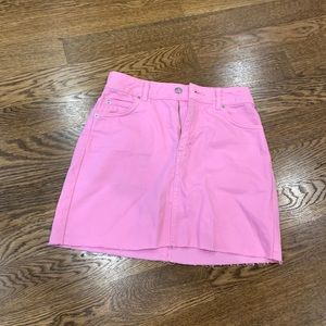 Topshop neon denim mini skirt